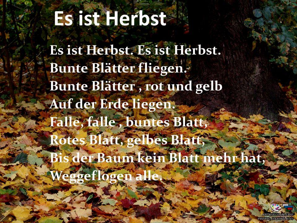 Es ist Herbst. Bunte Blätter fliegen. Bunte Blätter, rot und gelb Auf der Erde liegen. Falle, falle, buntes Blatt, Rotes Blatt, gelbes Blatt, Bis der