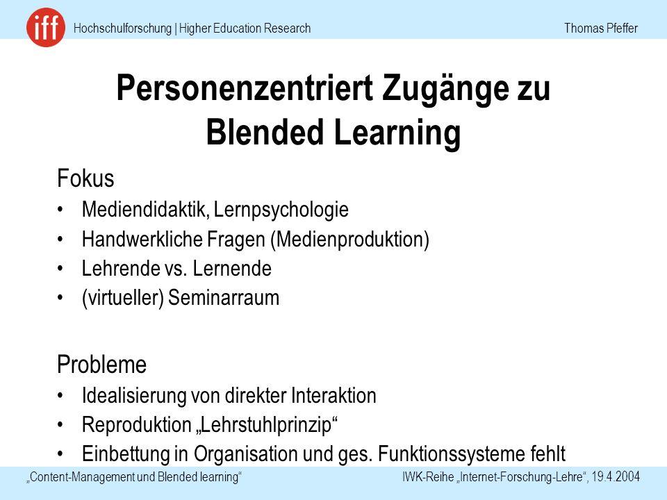 Hochschulforschung | Higher Education Research Thomas Pfeffer Content-Management und Blended learning IWK-Reihe Internet-Forschung-Lehre, 19.4.2004 Pe