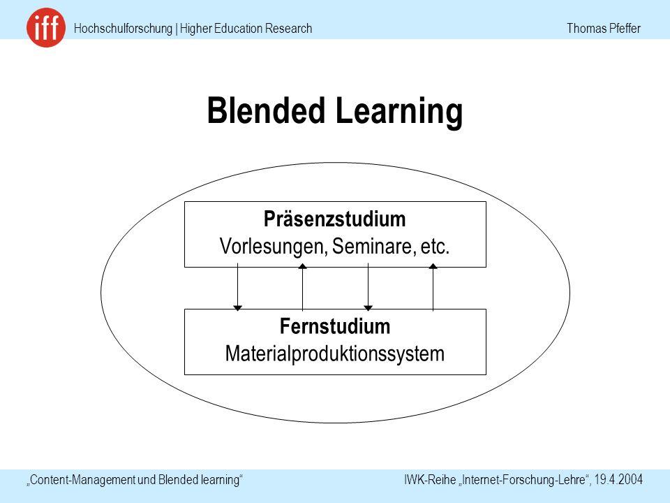 Hochschulforschung | Higher Education Research Thomas Pfeffer Content-Management und Blended learning IWK-Reihe Internet-Forschung-Lehre, 19.4.2004 Blended Learning Präsenzstudium Vorlesungen, Seminare, etc.