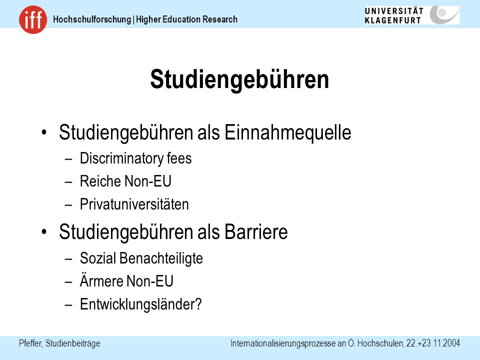 Hochschulforschung | Higher Education Research Pfeffer, Studienbeiträge Internationalisierungsprozesse an Ö.