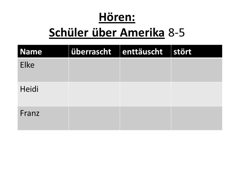 Hören: Schüler über Amerika 8-5 Nameüberraschtenttäuschtstört Elke Heidi Franz