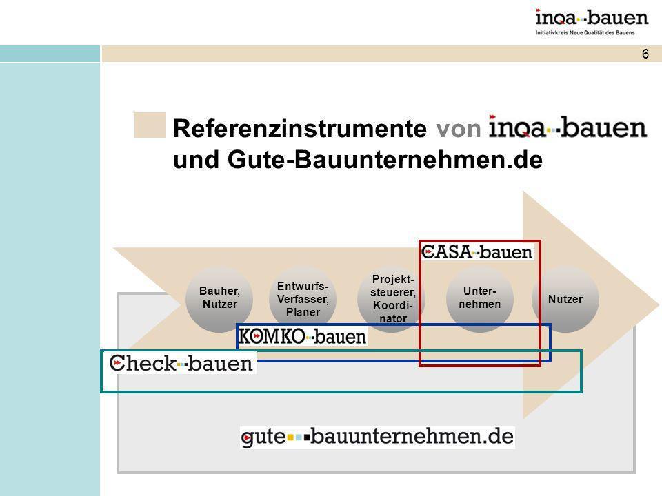 Eine unabhängige INQA-Bauen-Plattform der gesamten Bauwirtschaft, besonders unterstützt von Qualitätssiegeln/-initiativen/Innungen Bauherrenverbänden Arbeitsschutzinstitutionen Einstiegsvoraussetzung: CASA-bauen Was ist gute-bauunternehmen.de?