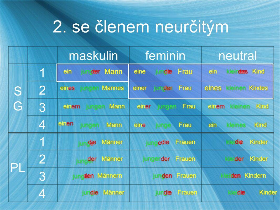maskulinfemininneutral SGSG 1 2 3 4 PL 1 2 3 4 2.