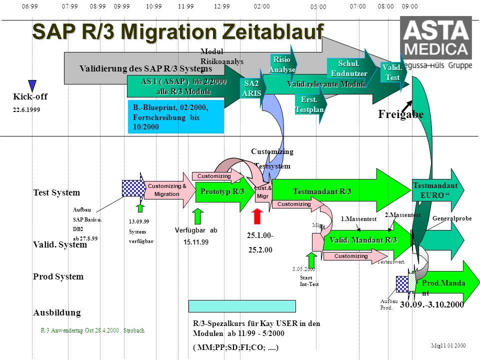 R/3 Anwendertag Ost 28.4.2000 Strobach 06/99 07/99 08/99 09/99 10/99 11/99 12/99 02/00 05/00 09/00 Kick-off 22.6.1999 Validierung des SAP R/3 Systems