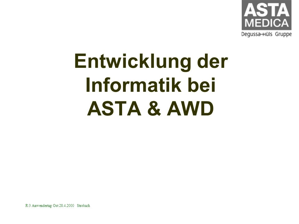 R/3 Anwendertag Ost 28.4.2000 Strobach Corporate Network