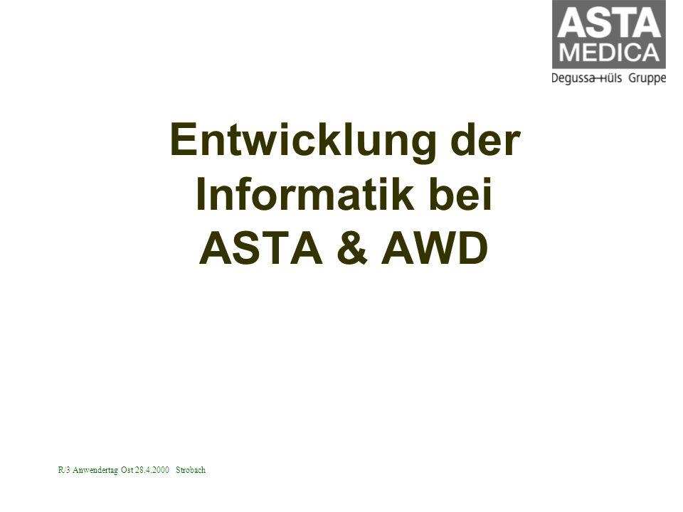 R/3 Anwendertag Ost 28.4.2000 Strobach Entwicklung der Informatik bei ASTA & AWD
