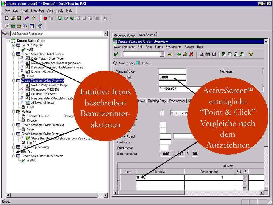 Intuitive Icons beschreiben Benutzerinter- aktionen ActiveScreen TM ermöglicht Point & Click Vergleiche nach dem Aufzeichnen