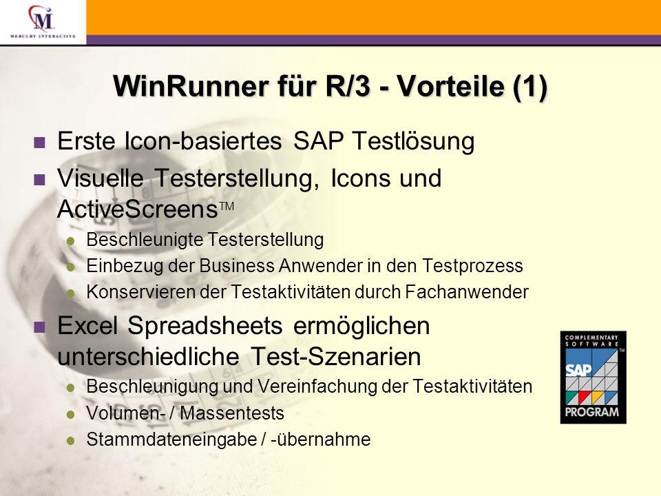 n Erste Icon-basiertes SAP Testlösung n Visuelle Testerstellung, Icons und ActiveScreens TM l Beschleunigte Testerstellung l Einbezug der Business Anwender in den Testprozess l Konservieren der Testaktivitäten durch Fachanwender n Excel Spreadsheets ermöglichen unterschiedliche Test-Szenarien l Beschleunigung und Vereinfachung der Testaktivitäten l Volumen- / Massentests l Stammdateneingabe / -übernahme WinRunner für R/3 - Vorteile (1)
