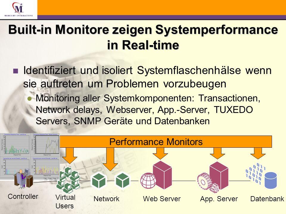 Built-in Monitore zeigen Systemperformance in Real-time n Identifiziert und isoliert Systemflaschenhälse wenn sie auftreten um Problemen vorzubeugen l Monitoring aller Systemkomponenten: Transactionen, Network delays, Webserver, App.-Server, TUXEDO Servers, SNMP Geräte und Datenbanken Web ServerApp.
