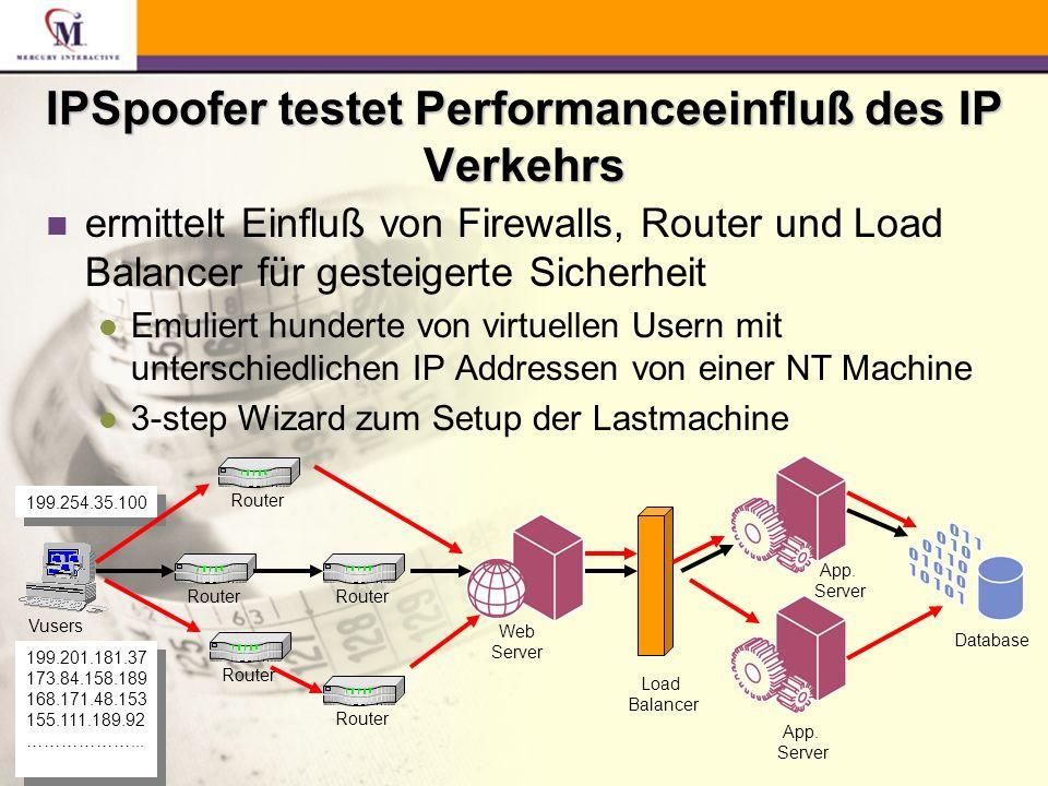 IPSpoofer testet Performanceeinfluß des IP Verkehrs n ermittelt Einfluß von Firewalls, Router und Load Balancer für gesteigerte Sicherheit l Emuliert hunderte von virtuellen Usern mit unterschiedlichen IP Addressen von einer NT Machine l 3-step Wizard zum Setup der Lastmachine 199.201.181.37 173.84.158.189 168.171.48.153 155.111.189.92 ………………...