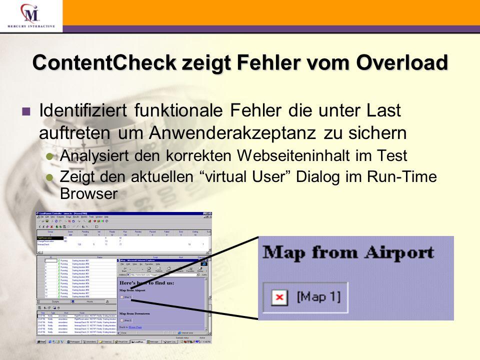 ContentCheck zeigt Fehler vom Overload n Identifiziert funktionale Fehler die unter Last auftreten um Anwenderakzeptanz zu sichern l Analysiert den korrekten Webseiteninhalt im Test l Zeigt den aktuellen virtual User Dialog im Run-Time Browser