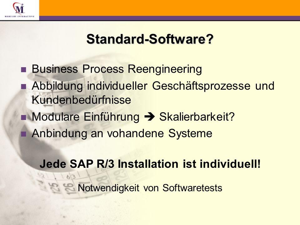 Aufzeichnung von SAP R/3 Geschäfts- prozessen Testaus- führung/ Testdoku- mentation Erstellen von Scenarios über Massendaten QuickTest Technologie Funktionsweise
