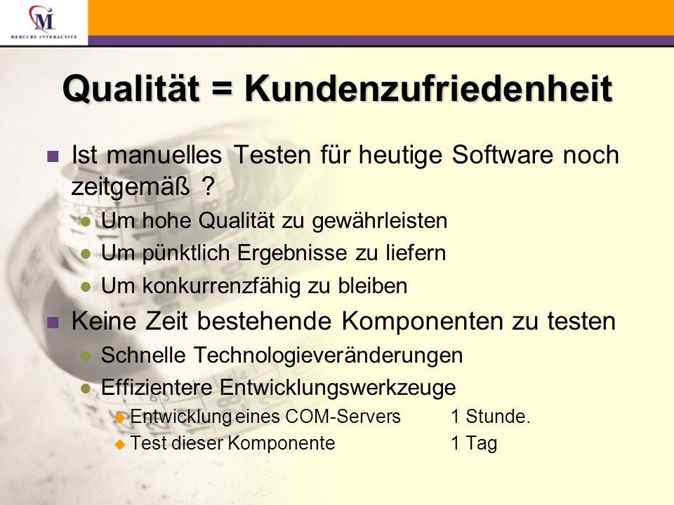 LoadRunner n Multi-User Test l mehrere gleichzeitige Benutzer l konkurrierende Zugriffe n Last- und Performanceverhalten l grafische Darstellung der Ergebnisse l Antwortzeiten l Skalierbarkeit l Was wäre wenn...