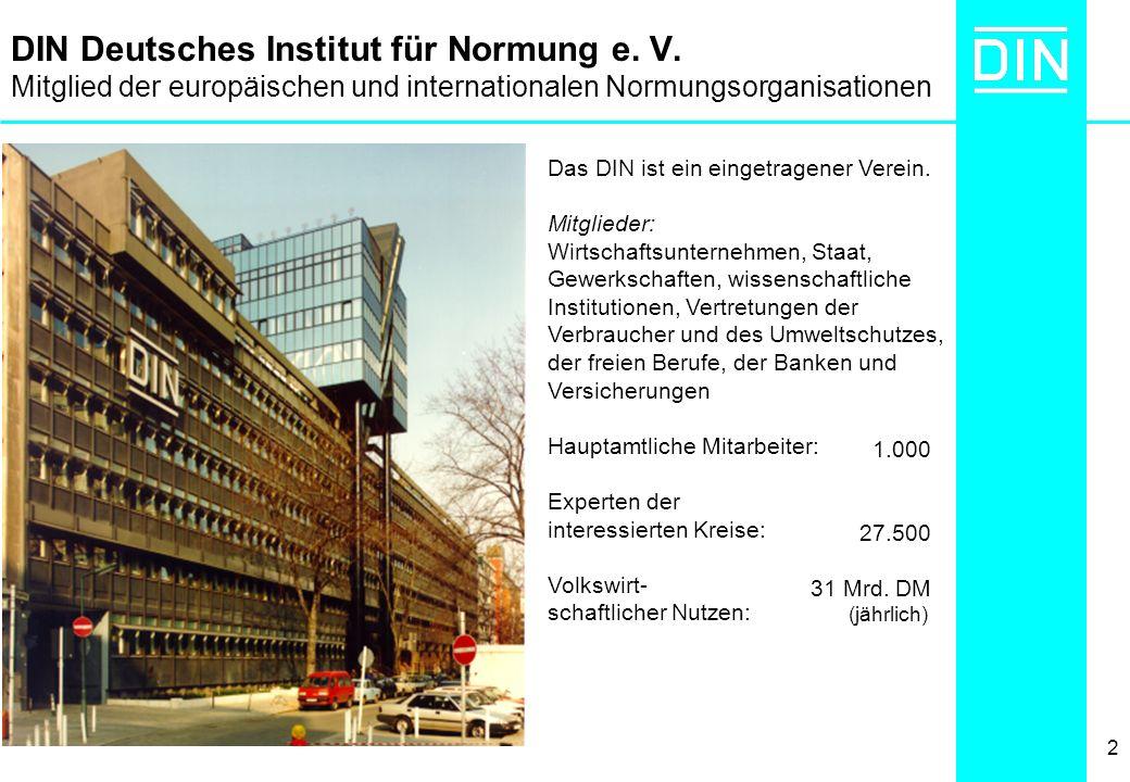 2 DIN Deutsches Institut für Normung e. V. Mitglied der europäischen und internationalen Normungsorganisationen Das DIN ist ein eingetragener Verein.