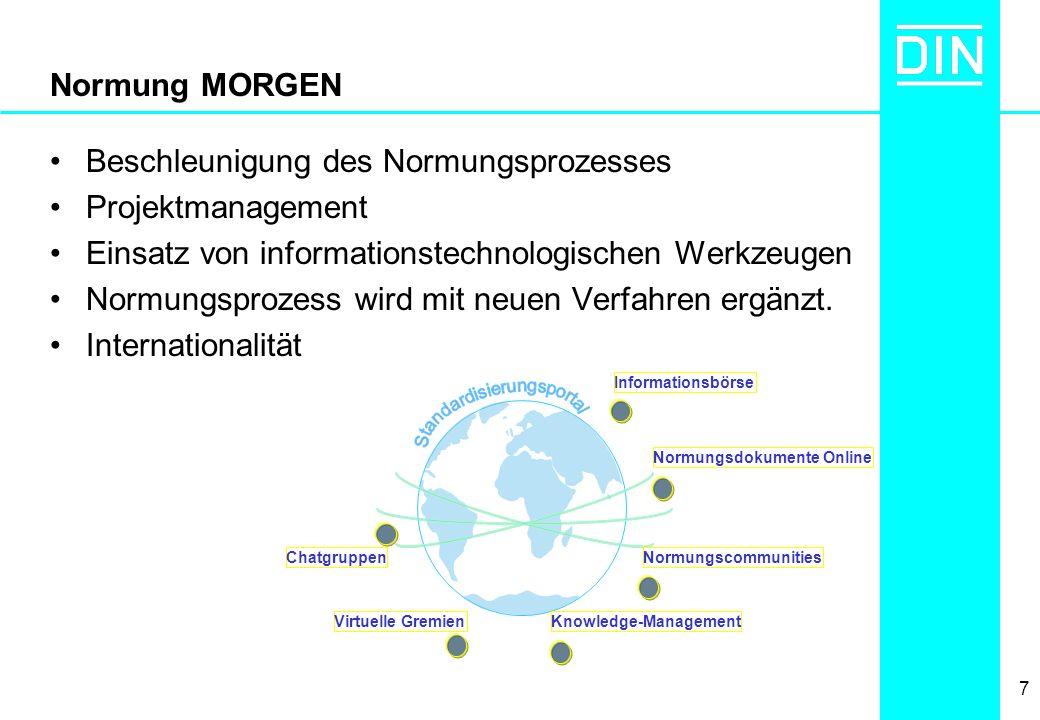 7 Normung MORGEN Beschleunigung des Normungsprozesses Projektmanagement Einsatz von informationstechnologischen Werkzeugen Normungsprozess wird mit ne
