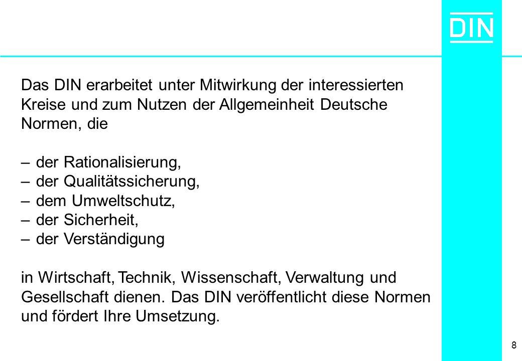 8 Das DIN erarbeitet unter Mitwirkung der interessierten Kreise und zum Nutzen der Allgemeinheit Deutsche Normen, die –der Rationalisierung, –der Qual