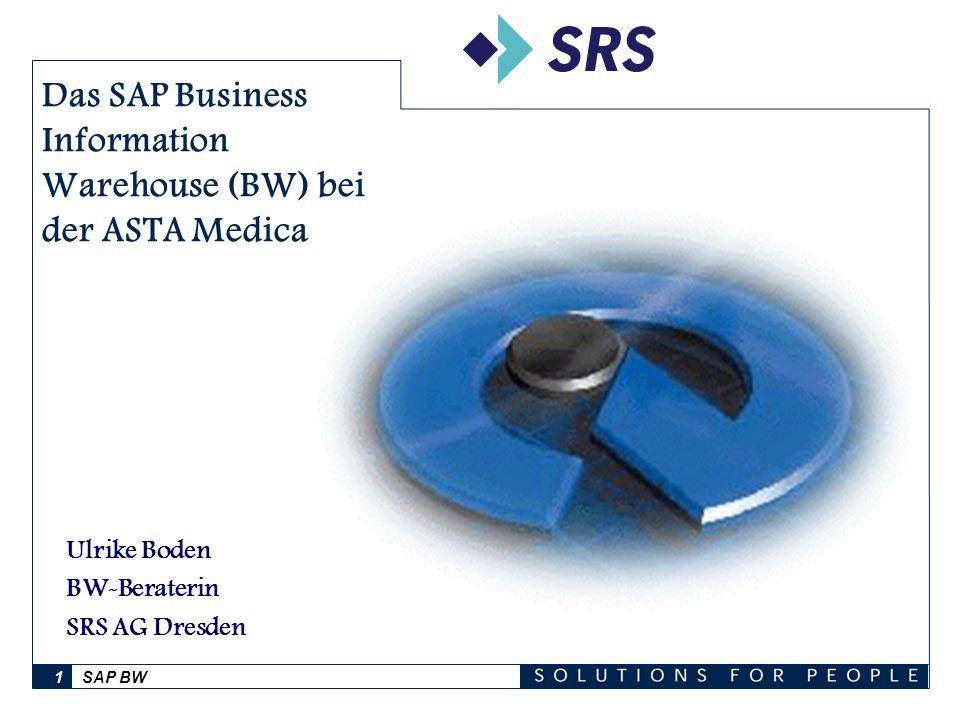 SAP BW1 Das SAP Business Information Warehouse (BW) bei der ASTA Medica AG Ulrike Boden BW-Beraterin SRS AG Dresden