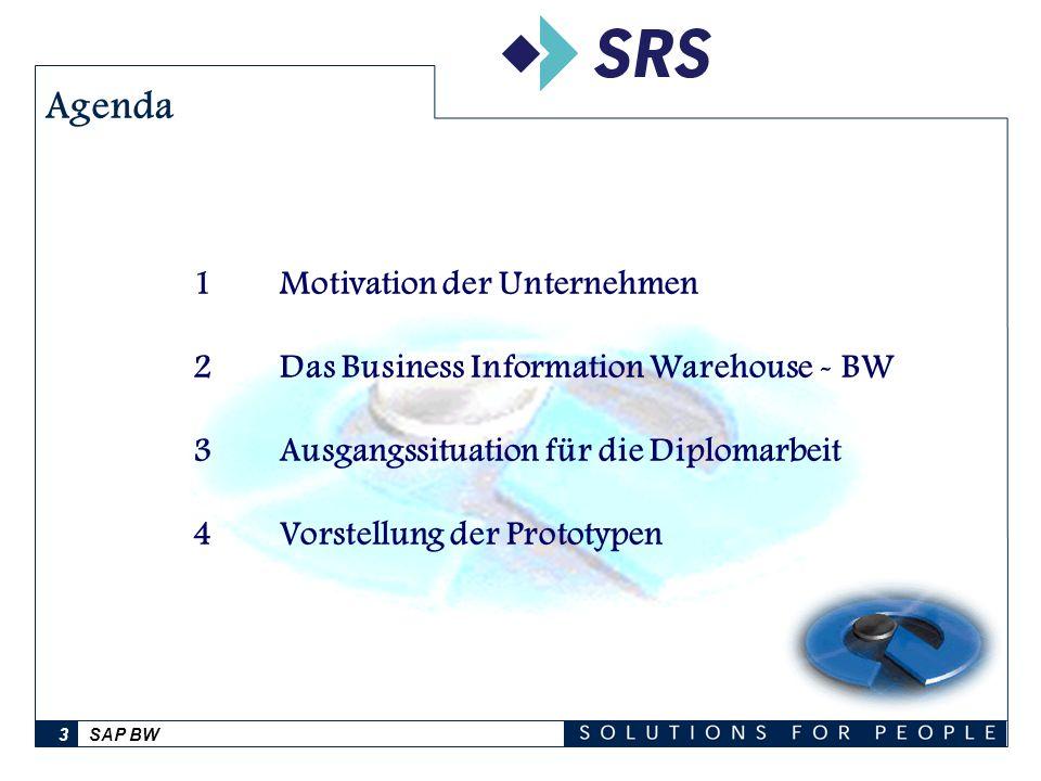SAP BW14 SAP BW-Beratung bei der SRS AG Dresden Ansprechpartnerinnen: Anike Dietz e-mail: Anike.Dietz@sap.com Telefon: 0351/4811-8621 Ulrike Boden e-mail: Ulrike.Boden@sap.com Telefon: 0351/4811-8631