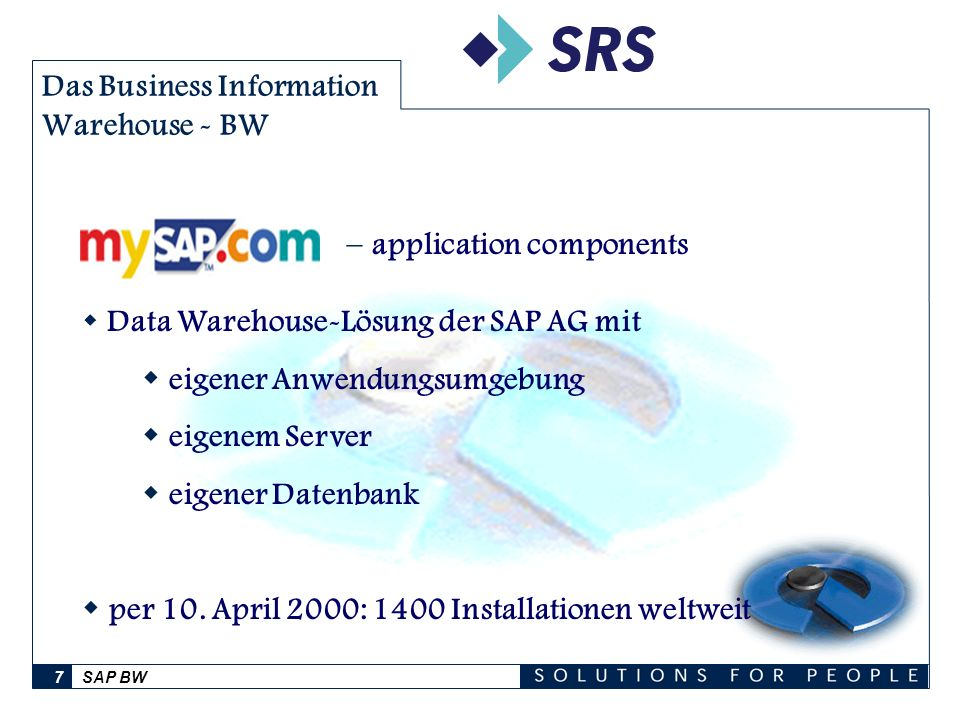 SAP BW7 Das Business Information Warehouse - BW Data Warehouse-Lösung der SAP AG mit eigener Anwendungsumgebung eigenem Server eigener Datenbank per 1