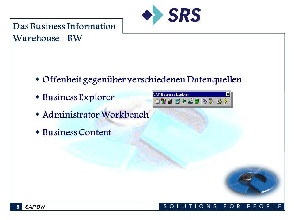 SAP BW8 Das Business Information Warehouse - BW Offenheit gegenüber verschiedenen Datenquellen Business Explorer Administrator Workbench Business Cont