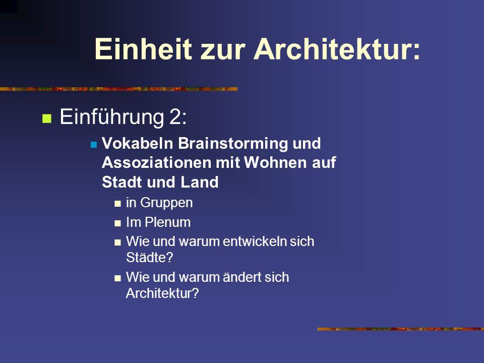Einheit zur Architektur: Einführung 2: Vokabeln Brainstorming und Assoziationen mit Wohnen auf Stadt und Land in Gruppen Im Plenum Wie und warum entwi
