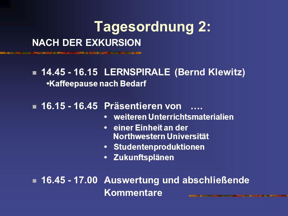 Tagesordnung 2: NACH DER EXKURSION 14.45 - 16.15LERNSPIRALE (Bernd Klewitz) Kaffeepause nach Bedarf 16.15 - 16.45Präsentieren von …. weiteren Unterric