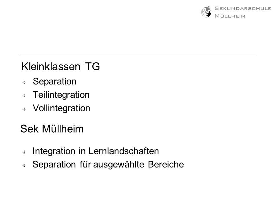 Kleinklassen TG Separation Teilintegration Vollintegration Sek Müllheim Integration in Lernlandschaften Separation für ausgewählte Bereiche