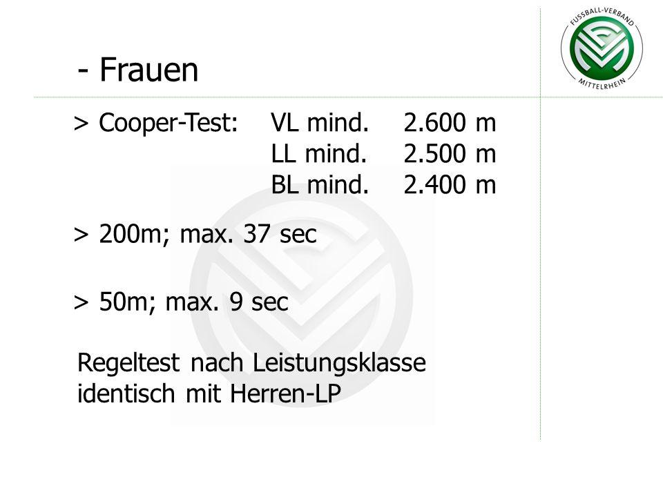 - Bezirksliga / Förderlehrgang > Cooper-Test; mind. 2.400m > 200m; max. 32 sec > 50m; max. 8 sec > Regeltest; max. 3½ Fehler