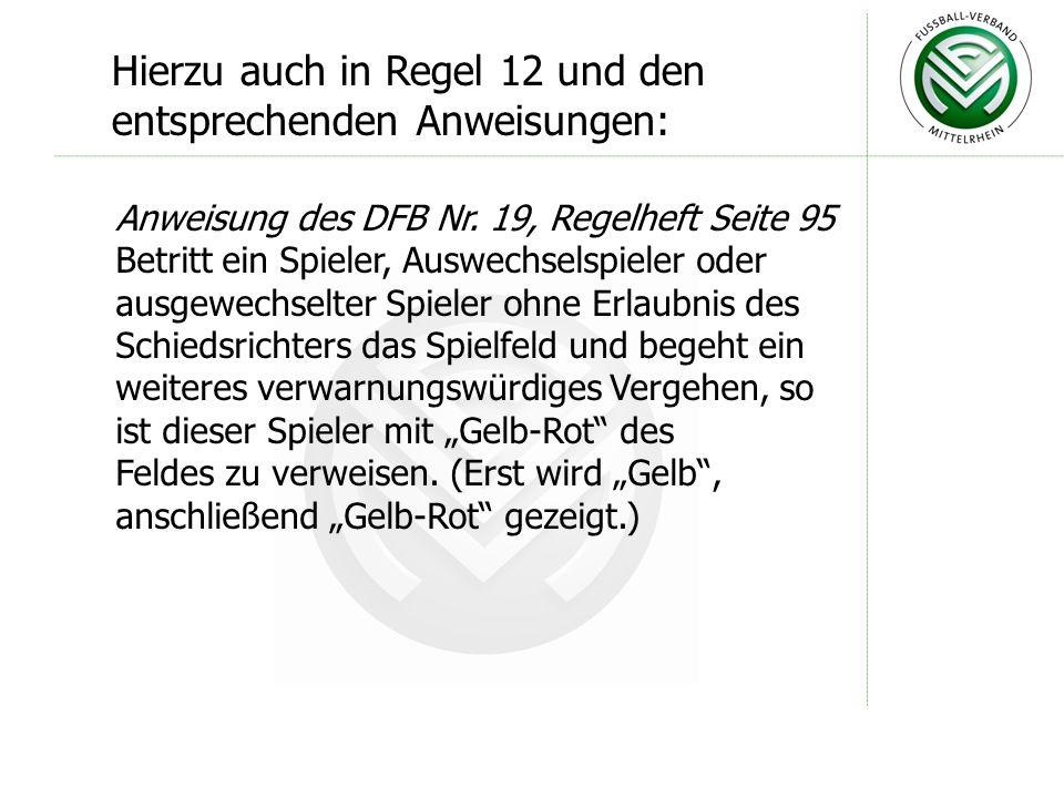Weitgehende Gleichstellung von Spielern, Auswechselspieler und ausgewechseltem Spieler: Anweisungen des DFB Nr.