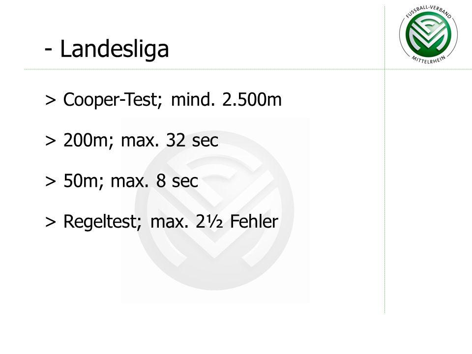 - Verbandsliga > Cooper-Test; mind. 2.600m > 200m; max. 32 sec > 50m; max. 8 sec > Regeltest; max. 2½ Fehler