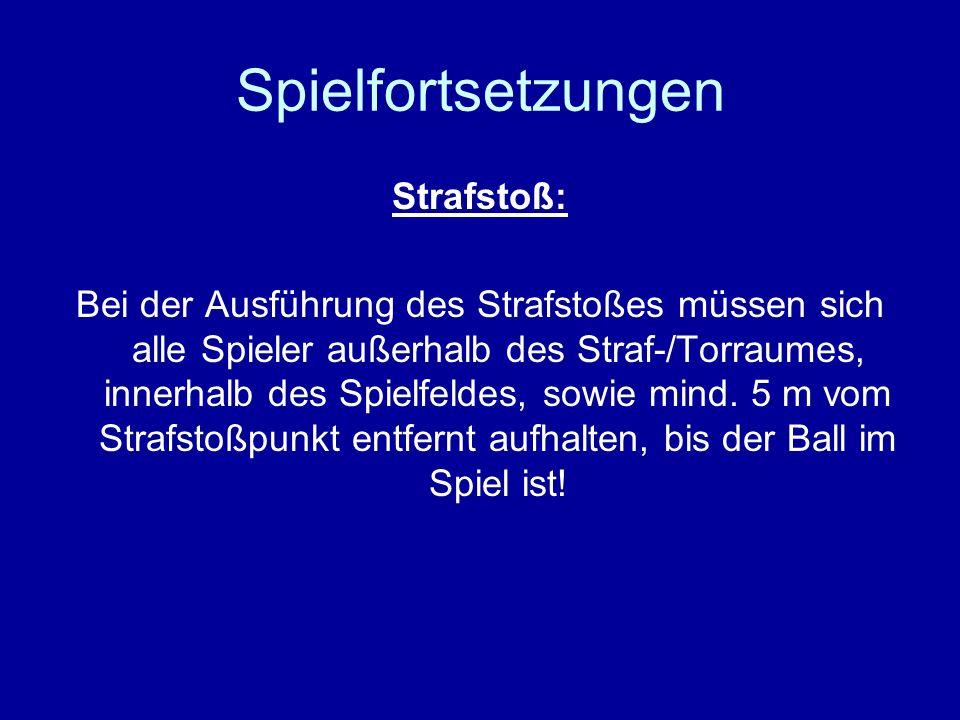 Spielfortsetzungen Strafstoß: Die Strafstoßmarke ist bei 3m breiten Toren 7m (Wurfmarke) und bei 5 m breiten Toren 9m (gestrichelter Raum) von der Torlinie entfernt.