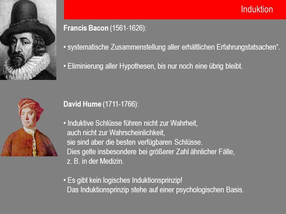 Francis Bacon (1561-1626): systematische Zusammenstellung aller erhältlichen Erfahrungstatsachen. Eliminierung aller Hypothesen, bis nur noch eine übr