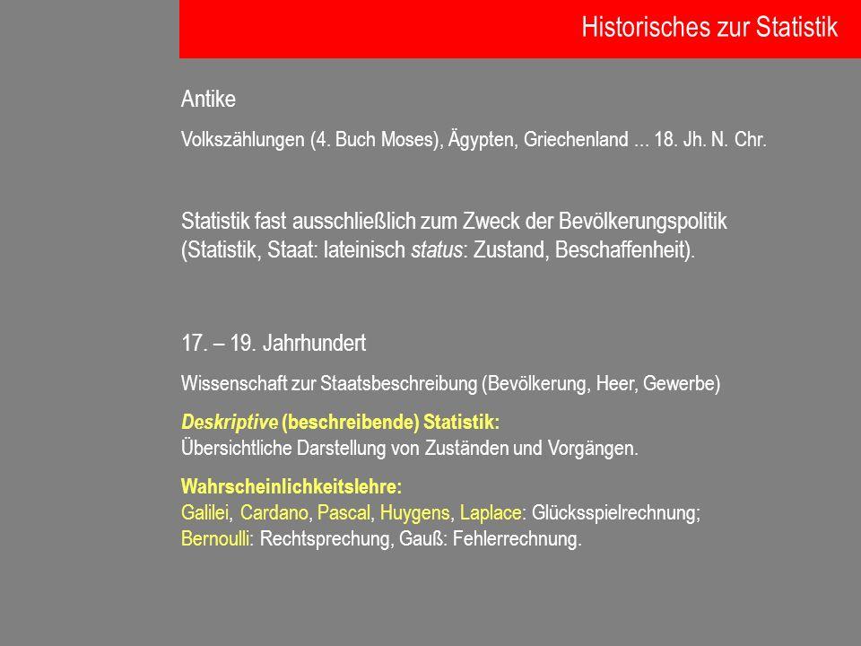 Antike Volkszählungen (4. Buch Moses), Ägypten, Griechenland... 18. Jh. N. Chr. Statistik fast ausschließlich zum Zweck der Bevölkerungspolitik (Stati