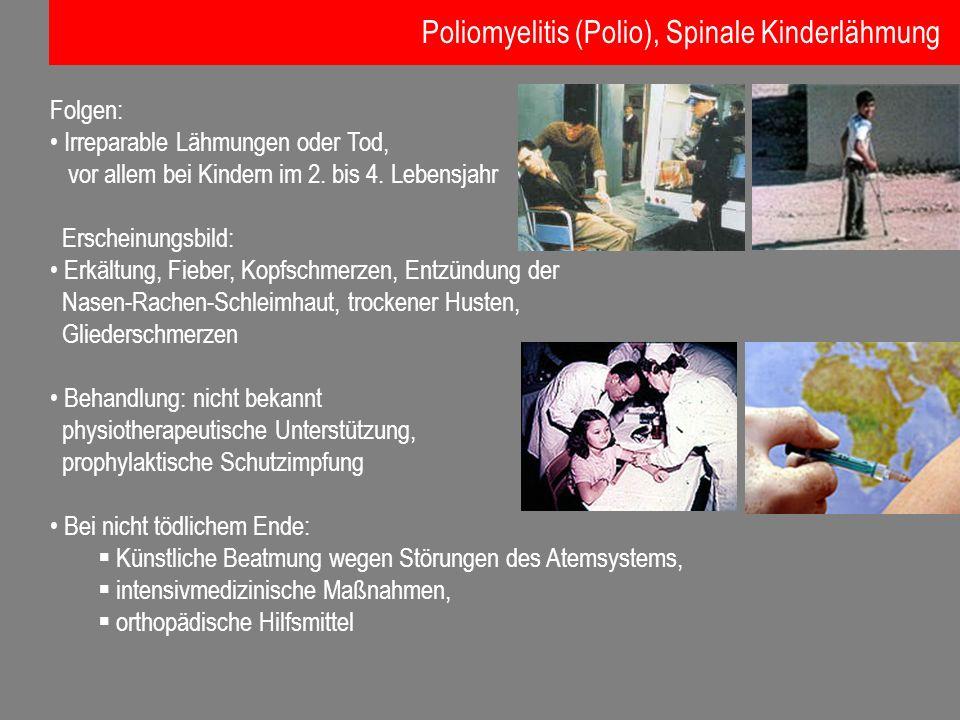 Folgen: Irreparable Lähmungen oder Tod, vor allem bei Kindern im 2. bis 4. Lebensjahr Erscheinungsbild: Erkältung, Fieber, Kopfschmerzen, Entzündung d