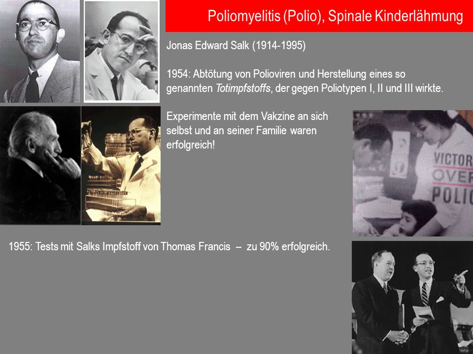 Jonas Edward Salk (1914-1995) 1954: Abtötung von Polioviren und Herstellung eines so genannten Totimpfstoffs, der gegen Poliotypen I, II und III wirkt