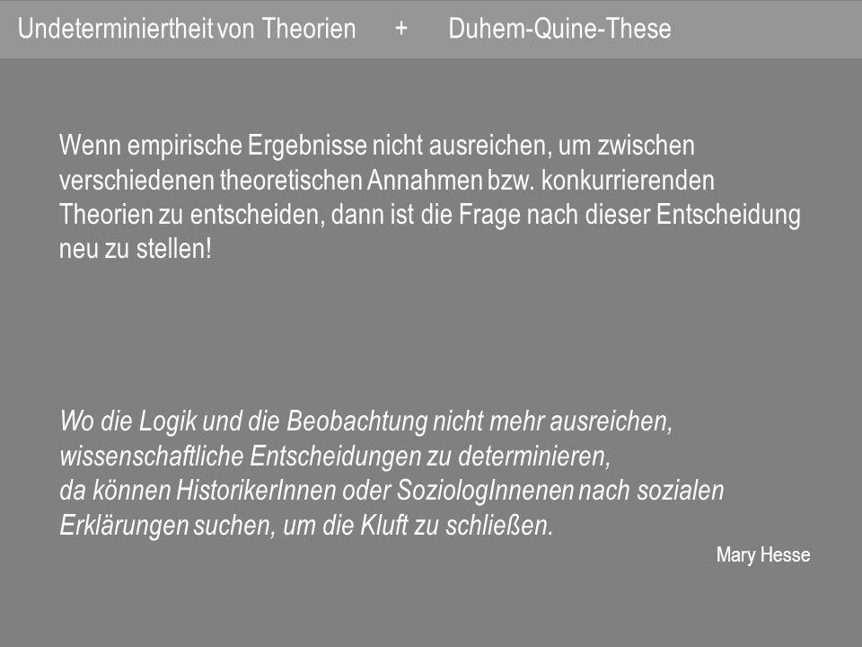 Wenn empirische Ergebnisse nicht ausreichen, um zwischen verschiedenen theoretischen Annahmen bzw.