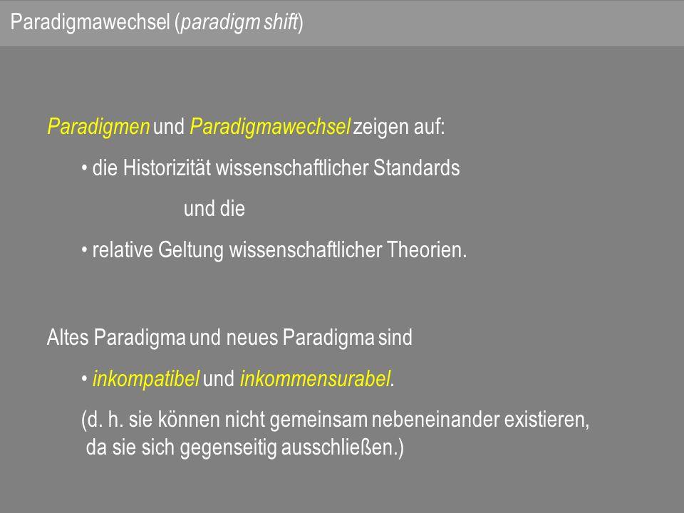 Paradigmen und Paradigmawechsel zeigen auf: die Historizität wissenschaftlicher Standards und die relative Geltung wissenschaftlicher Theorien.