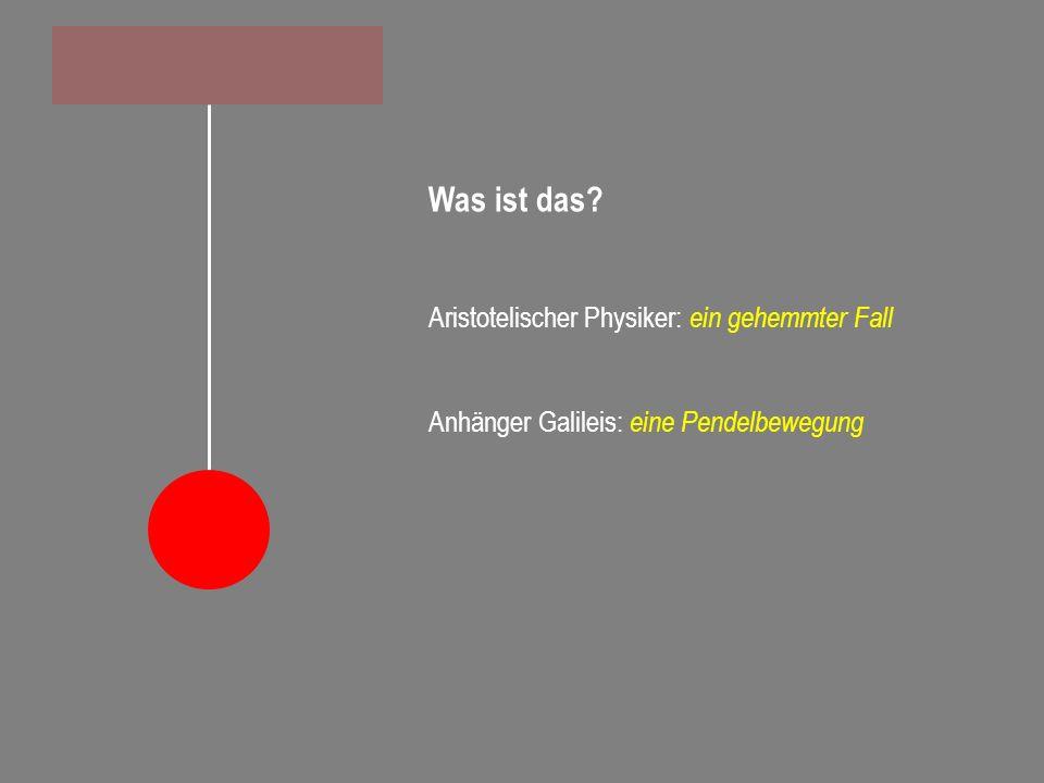 Was ist das? Aristotelischer Physiker: ein gehemmter Fall Anhänger Galileis: eine Pendelbewegung