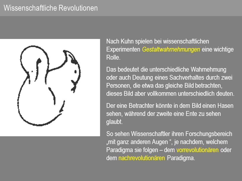 Nach Kuhn spielen bei wissenschaftlichen Experimenten Gestaltwahrnehmungen eine wichtige Rolle.