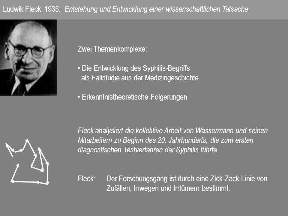 Zwei Themenkomplexe: Die Entwicklung des Syphilis-Begriffs als Fallstudie aus der Medizingeschichte Erkenntnistheoretische Folgerungen Fleck analysiert die kollektive Arbeit von Wassermann und seinen Mitarbeitern zu Beginn des 20.