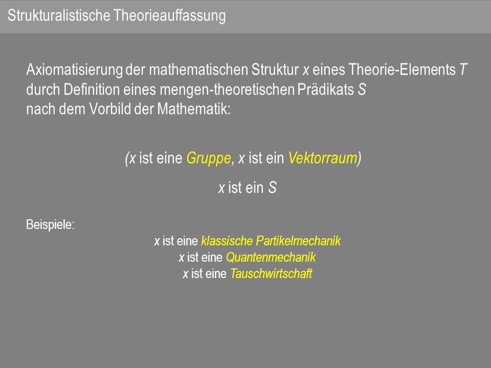 Axiomatisierung der mathematischen Struktur x eines Theorie-Elements T durch Definition eines mengen-theoretischen Prädikats S nach dem Vorbild der Mathematik: (x ist eine Gruppe, x ist ein Vektorraum) x ist ein S Beispiele: x ist eine klassische Partikelmechanik x ist eine Quantenmechanik x ist eine Tauschwirtschaft Strukturalistische Theorieauffassung