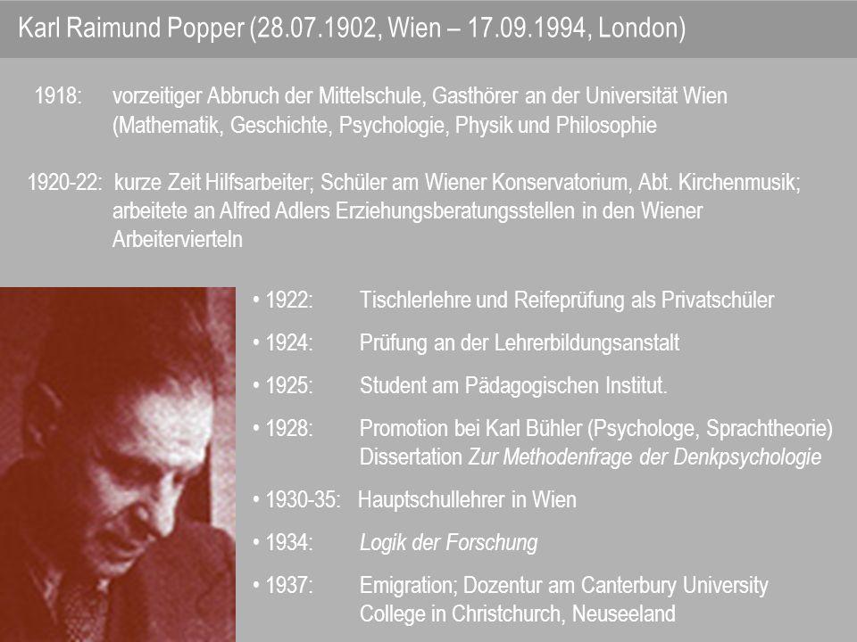 Winter 1944/45: Annahme eines Angebots, an der London School of Economics ab Januar 1946; Lehrtätigkeit als Außerordentlicher Professor 1949: Professor für Logik und wissenschaftliche Methodenlehre an der Universität London.