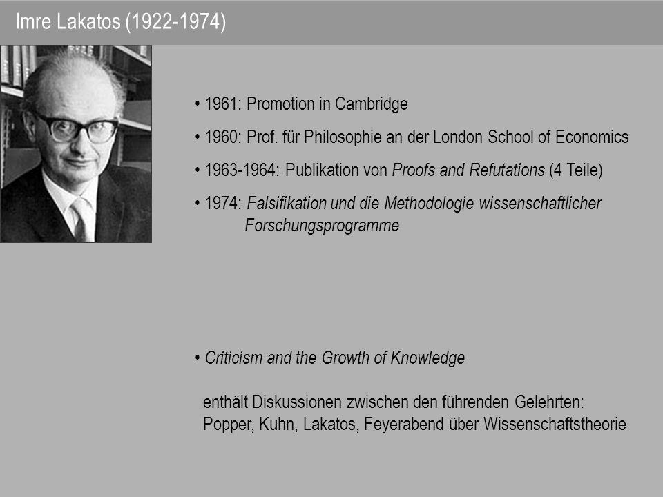 1961: Promotion in Cambridge 1960: Prof. für Philosophie an der London School of Economics 1963-1964: Publikation von Proofs and Refutations (4 Teile)