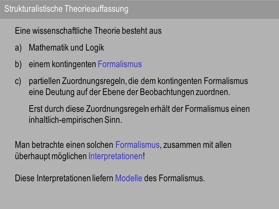Eine wissenschaftliche Theorie besteht aus a)Mathematik und Logik b)einem kontingenten Formalismus c)partiellen Zuordnungsregeln, die dem kontingenten
