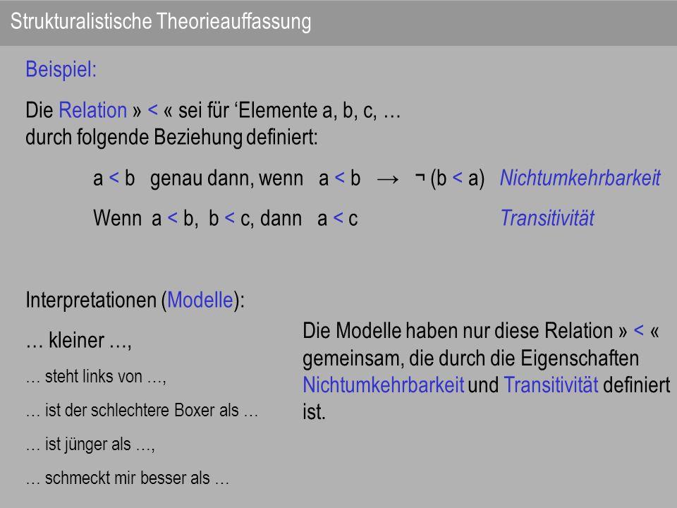 Beispiel: Die Relation » < « sei für Elemente a, b, c, … durch folgende Beziehung definiert: a < b genau dann, wenn a < b ¬ (b < a) Nichtumkehrbarkeit