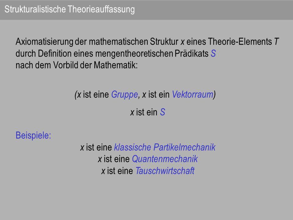 Axiomatisierung der mathematischen Struktur x eines Theorie-Elements T durch Definition eines mengentheoretischen Prädikats S nach dem Vorbild der Mat