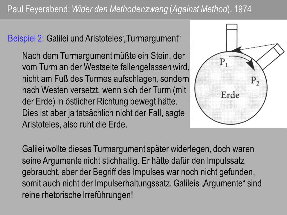 Paul Feyerabend: Wider den Methodenzwang ( Against Method ), 1974 Beispiel 2: Galilei und AristotelesTurmargument Nach dem Turmargument müßte ein Stei