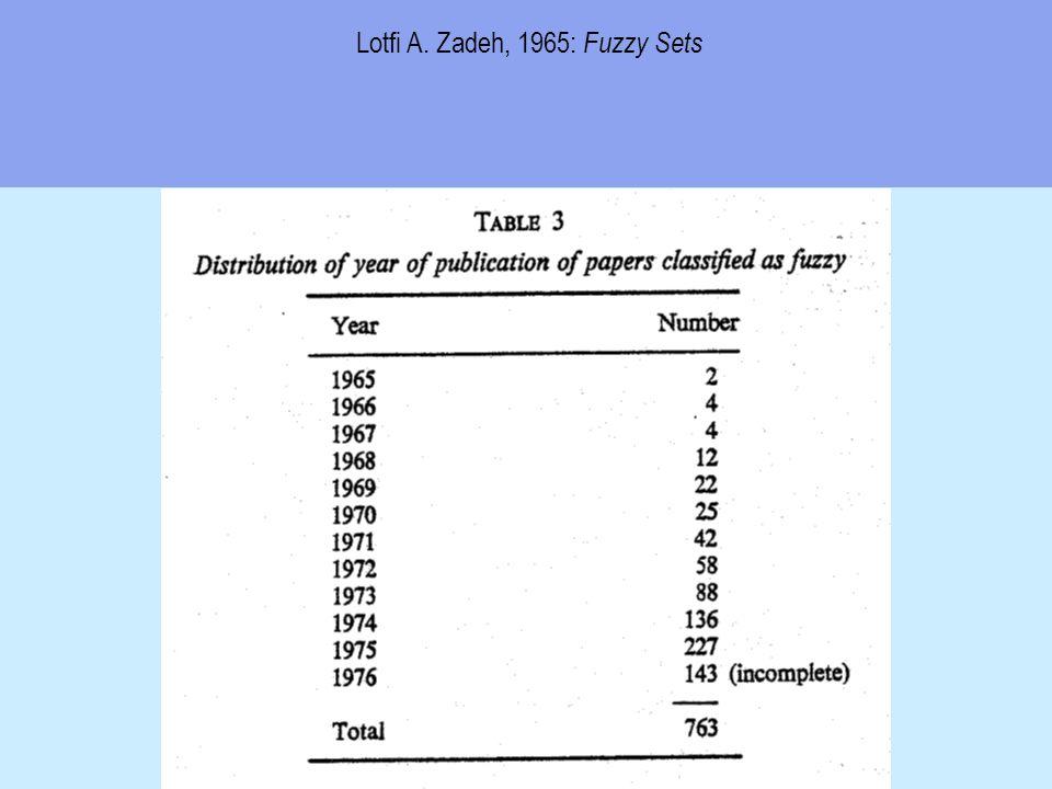 Lotfi A. Zadeh, 1965: Fuzzy Sets