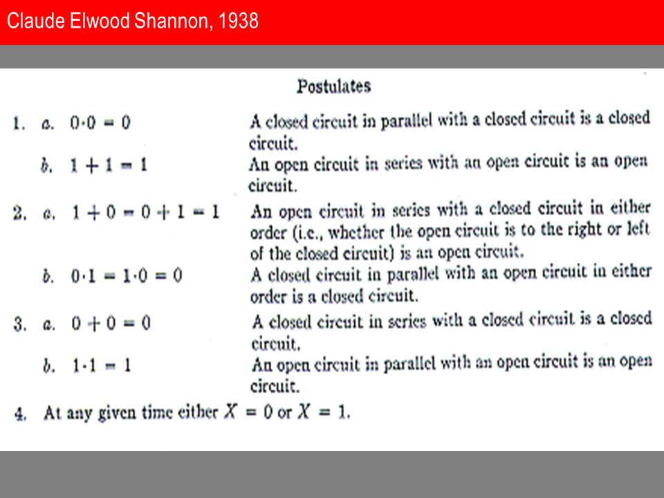 1938: A Symbolic Analysis of Relay and Switching Circuits Claude Elwood Shannon (1916-2001)