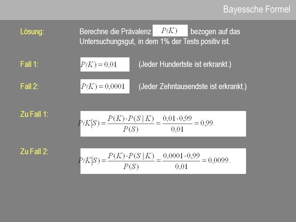 Bayessche Formel Lösung:Berechne die Prävalenz bezogen auf das Untersuchungsgut, in dem 1% der Tests positiv ist. Fall 1:(Jeder Hundertste ist erkrank